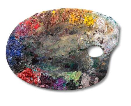 paleta de pintor: paleta de artista en el fondo. El camino de recortes en la paleta. Foto de archivo