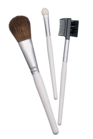 makeups: Professional makeup brushes and mask applicators. Clipping path Stock Photo