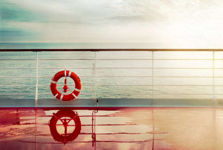 post card: Grunge cruise deck background at dawn. Vintage post card. Stock Photo