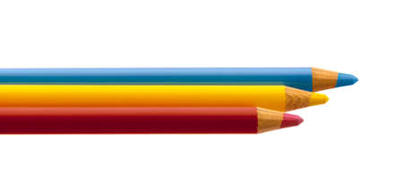 Three color crayons on white background.
