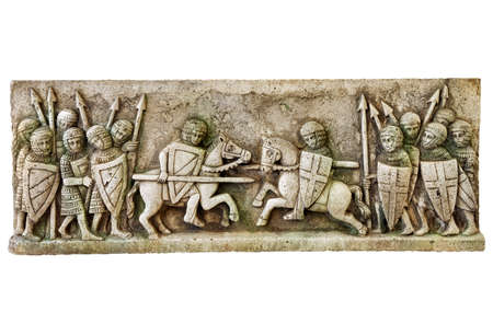 friezes: Simile of a classic medieval frieze showing a knights battle isolated on white background.