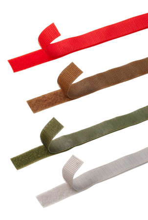 Four different color Velcro strips