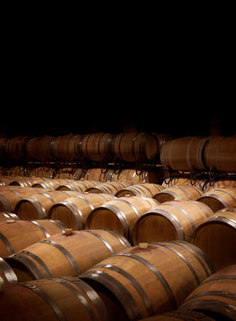 Wine cellar in warm ambiance.  Wooden wine barrels at a winery.