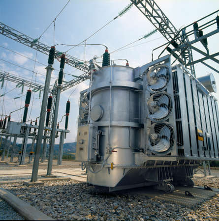 High-voltage power transformer Stock Photo