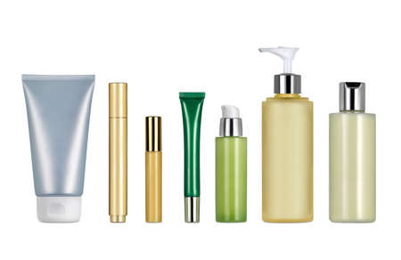 Generic cosmetics and creams containers against white background. Clipping path