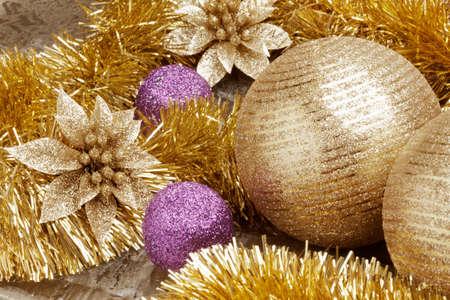 Close up view of Christmas set decoration.
