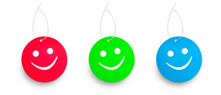 Three color tags in red green and blue. Happy or smile concept