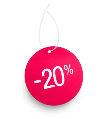 Discount tag. 20% off against white background. on tag and hanger tape