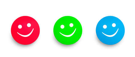 Three tags in red green and blue color. Happy or smile concept. Clipping path