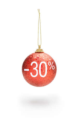 Sale off concept. Christmas ball hanging from cord. 30% sale off. Stockfoto
