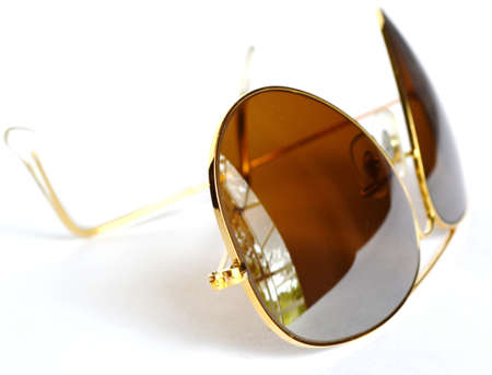 Sunglasses in a metal frame on white background Stock Photo - 18793776