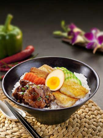 liu: Rice with filet andf pork cartilage Stock Photo
