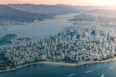 Beautiful Downtown and Stanley park in Vancouver from sea plane, Canada British Columbia Stock Photo