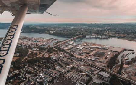 Beautiful City of Vancouver from sea plane, Canada British Columbia