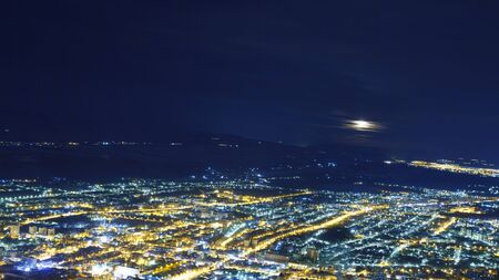 City lights in the night.