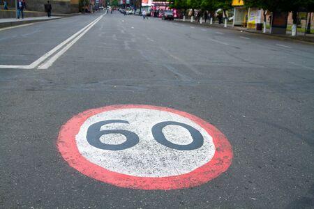 Road  speed limit on asphalt Standard-Bild - 150203436