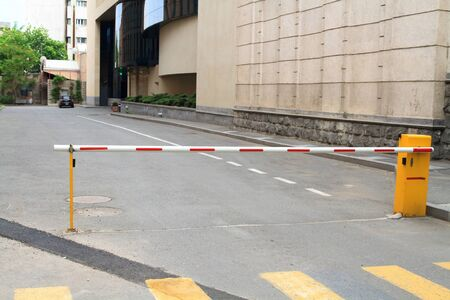 manual control security barrier of car parking entrance