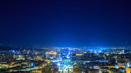 Panorama of night aerial view of Yerevan Standard-Bild - 150288116