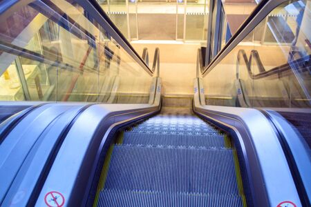 Close up to an electric escalator.