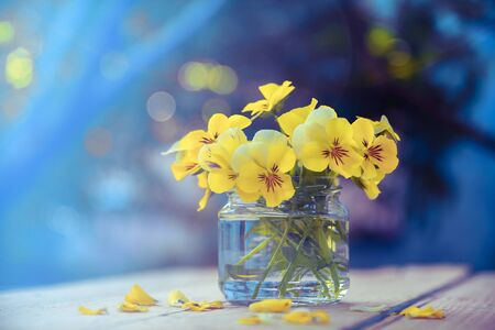 Yellow bouquet of flowers in glass pot