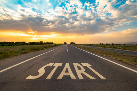 Start line on the highway concept for business planning, strategy and challenge or career path, opportunity and change.
