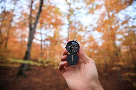 A beautiful male hand holds a magnetic compass in the coniferous autumn forest.
