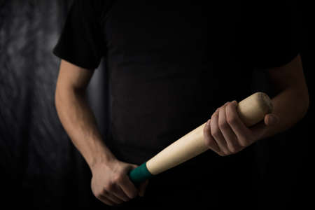 Man hand bat for beat