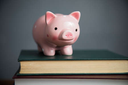 piggy bank on book on table