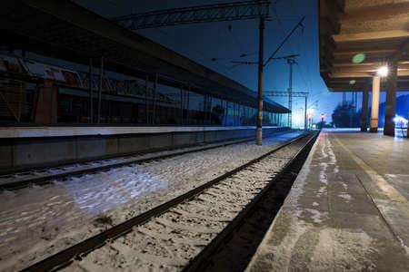 train line in the winter
