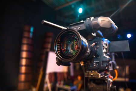 TV camera in recording and live studio