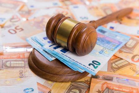 law concept, wooden judge and money Standard-Bild