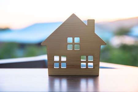house model on the table in nature background