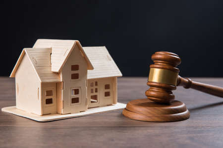 law concept, judge with house model