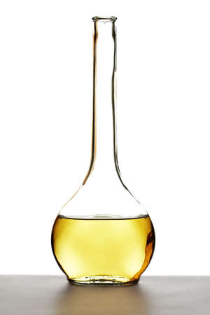 White wine in a nice shaped bottle with white backround photo