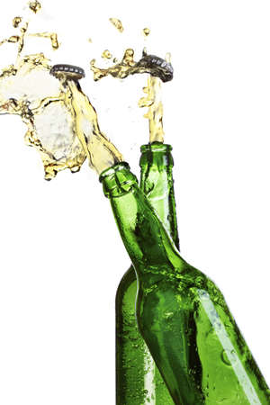Open two bottles of beer with an explosion photo