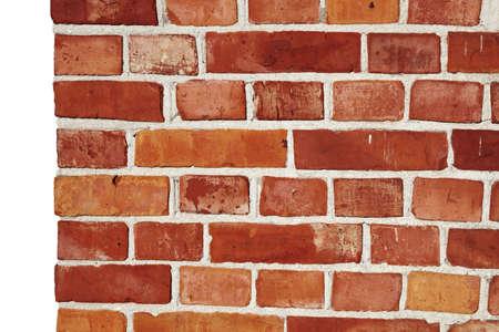 paredes de ladrillos: Vieja pared de ladrillos con un fondo de lado izquierdo aislado