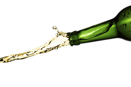 Bottle pouring with splashing beer on white background Stock Photo - 12426627