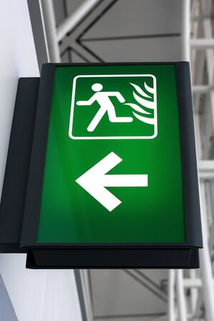 exit sign: Fire Exit Sign Lightbox Stock Photo