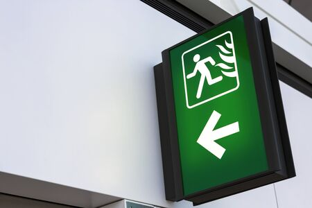 fire exit sign: Fire Exit Sign Lightbox Stock Photo