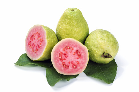 guava fruit: Ripe guava with leaves on white background Stock Photo