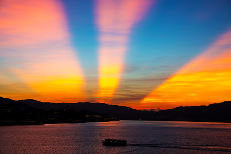 Anticrepuscular arch in sunset Imagens