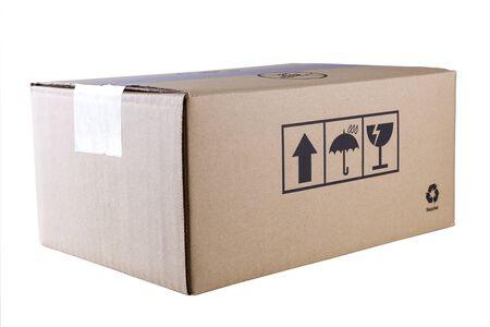 objects with clipping paths: cardboard box Stock Photo