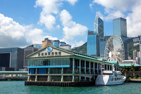 hong kong island: Hong Kong - June 4 2015:. Hong Kong Maritime Museum in Central Ferry Piers The museum exhibits the history and development of Hong Kong and Mainland Chinas rich seafaring past.