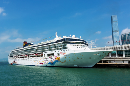 Hong Kong, China - September 6, 2015: Star Cruises Superstar Virgo docked at Ocean Terminal, Hong Kong Hongkong is a major tourist city in Asia, More than 40000000 visitors a year.. Imagens - 44937579
