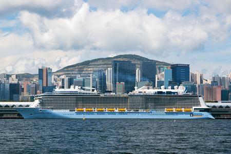 caribbean cruise: Hong Kong - June 20 2015: Newest Royal Caribbean Cruise Ship quantum of the Seas, docked in Kai Tak Cruise terminal Hong Kong This cruise ship first came to Hong kong in June 20 2015..