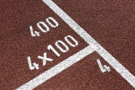 sports venue: Running Track 4 x 100 Stock Photo