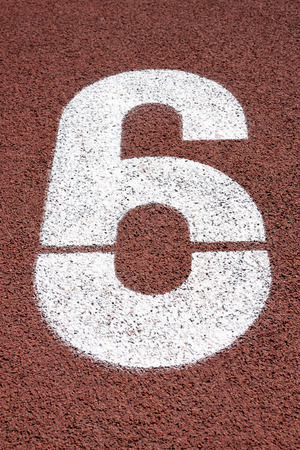 sports track: Number Six Stock Photo