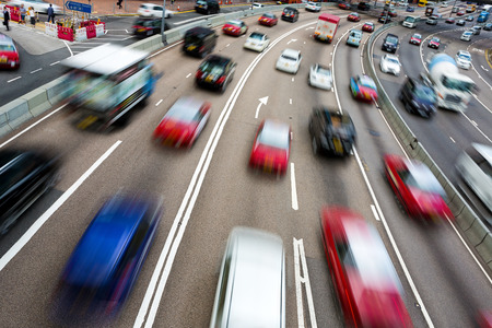 highway: Traffic on multiple lane highway with motion blur
