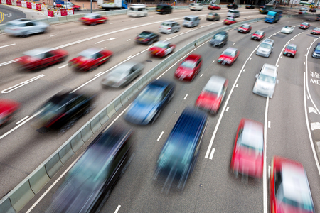 pollution: Traffic on multiple lane highway with motion blur