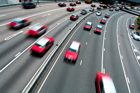 multiple lane highway: Traffic on multiple lane highway with motion blur